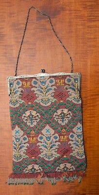 Large Art Deco Tapestry Micro Beaded Purse With Sterling Silver Frame