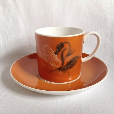 Vintage Susie Cooper hand painted china coffee can/cup and saucer - orange
