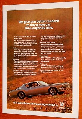Beautiful 1971 Buick Riviera Gs Boatail Ad - Vintage Classic American 70S Car