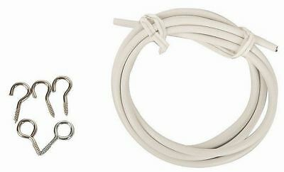HARRISON DRAPE NET WIRE 1m white window cord curtain cable hooks & eyes (398)