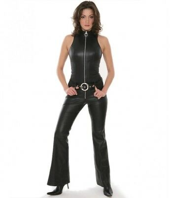 New Genuine leather CATSUIT JUMPSUIT Role play Sleeveless Bell bottoms Hem Chic