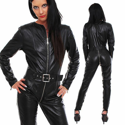 New Genuine leather catsuit Romper Jumpsuit full sleeves three way zip fitted
