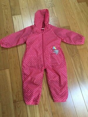 Blue Zoo Pink Spotty Cat Splash/puddle All In One Suit 18-24 Months