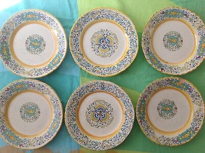 "SIX Meridiana Ceramiche 7 7/8"" Salad Plates made in Italy 2 traditional designs"