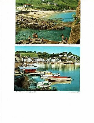 Postcards Jersey ,2 cards St Aubins and Greve de Lecq Photo E Ludwig