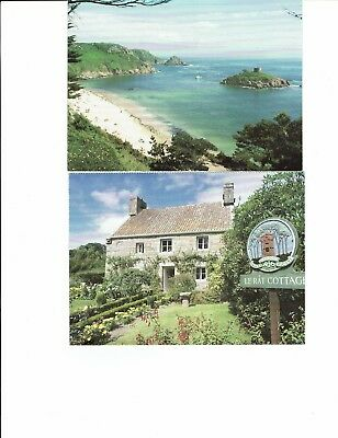 Postcards Jersey ,2 cards Le Rat Cottage and Portelet Bay
