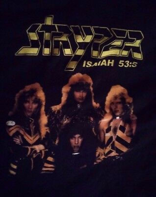 Stryper isaiah 53:5,to hell w/ the devil,black t shirt.size L.NM,Rare.dbl sided