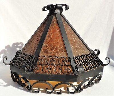 Vtg/Antique Gothic Medieval Wrought Iron Spanish Revival Chandelier Light Shade