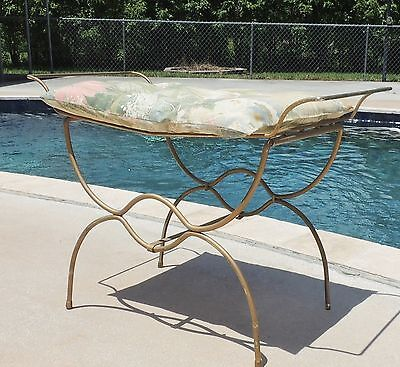 Gold Metal Iron Vanity Bench Stool Chair with Cushion #3113
