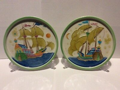 Luciano Itallian Studio Pottery Wall Plaques Carrack Type Sail Ships SEE PICS