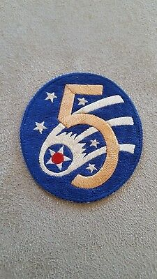 WW2 US Vintage 5th Army Air Corps Patch Theater German/Italian Bevo #142