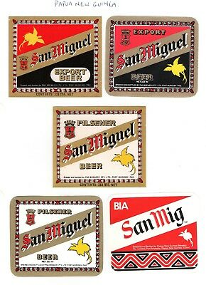 Papua New Guinea Brewery - 5 x older San Miguel beer bottle labels - see scan