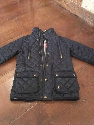 Childs Navy Blue Joules Blue Quilted Coat Age 7 Vgc