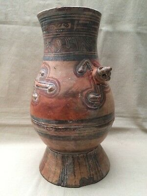 Beautiful Large Pottery Urn Latin American - Repaired unknown origin 44 cm tall