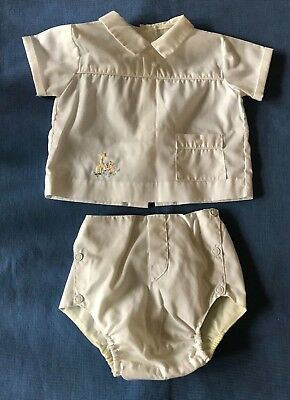 Vintage Newborn Boys Outfit - Two-Piece - White - Embroidered Detail, Pocket