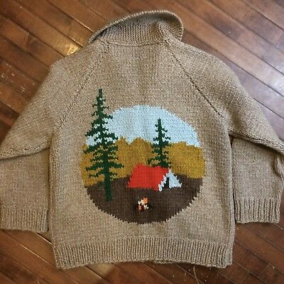 Camping Forest Vintage 70s XL Wool Shawl Collar Zip Cowichan Cardigan Sweater