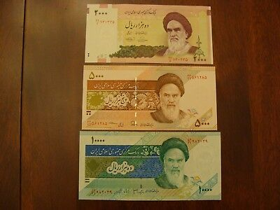 Lot of 3 Iran banknotes-2000, 5000 and 10000 Rials-paper money currency