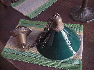 Old Industrial Art Nouveau  Green Cased Glass Shade & Ceiling Pendant Antique