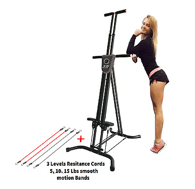 XR Vertical Maxi Climber W/ 3 Smooth Levels Abs Cardio Resistance Cords Function