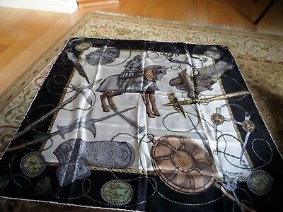 Jacqmar. Large & Unusual Military Themed Design Vintage Silk Scarf