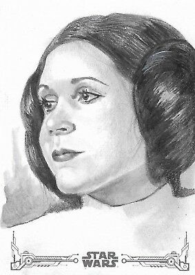 TOPPS STAR WARS BLACK AND WHITE AP sketch card MDye Princess Leia Carrie Fisher