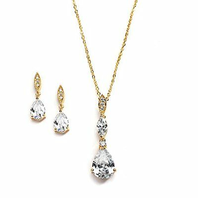 Mariell Best-Seller 14K Gold Plated Pear-Shaped CZ Bridal, Bridesmaids or Prom N