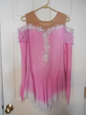 Baton strut costume, pink with white flowers, silver embellishment, adult XL
