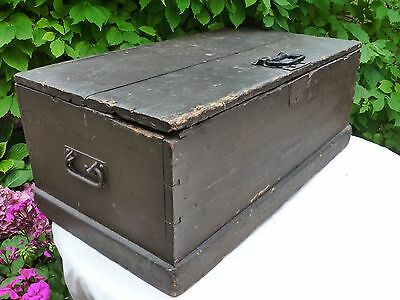 Large Vintage Painted Pine Hinged Trunk Crate Box Distressed Antique Retro