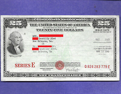 United States Savings Bond Series E $25.00, MAY  1949, RED SEAL Q824283779E