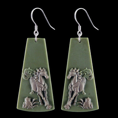Carved Horse Silver Earring EB900030