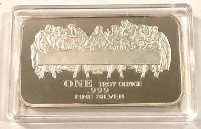 THE LAST SUPPER 1 Troy oz .999 Fine Silver Bar Jesus & Deciples, Airtite Holder