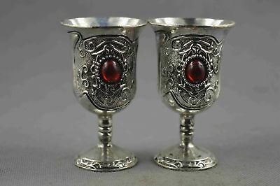 Collection Handwork Old Miao Silver Carve Flower Inlay Agate Auspicious Wine Cup