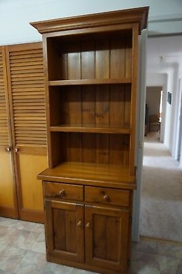 Pine kitchen buffet hutch with drawers, cupboards and 3 shelves