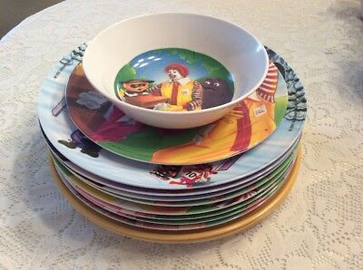 McDonalds Collector Plastic Dishes~1977-1997 Lot of 13 OLYMPIC, etc.~some dups.