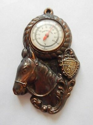 "Vintage - 4 3/8"" - Wall Hanging - Metal Horse - Thermometer - Arizona  Souvenir"