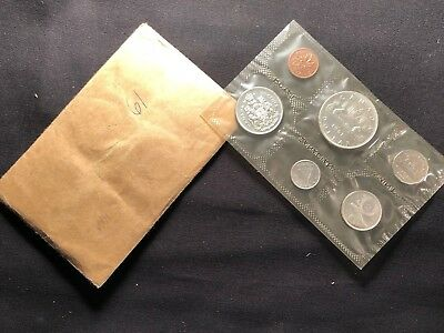 CANADA 1961 Proof-like Uncirculated Coin Set in Original Cellophane Wrapper