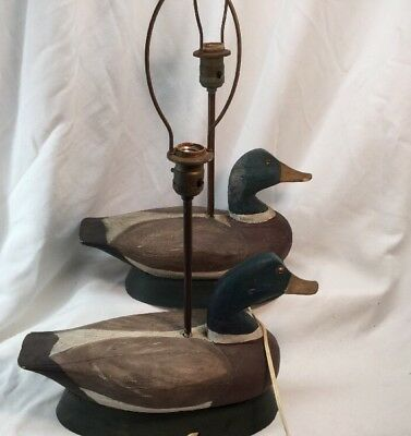 Pair Of Antique Duck Decoy Lamps Hand Carved Designer Folk Art Cabin VTG