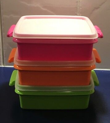 TUPPERWARE Carry-All Square Picnic Containers - Set of 3 - Orange, Green & Pink