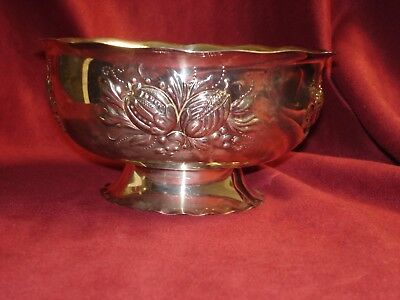 Vintage Prima N S Embossed Silver Plate Thistle Decorative Bowl Made In Sweden