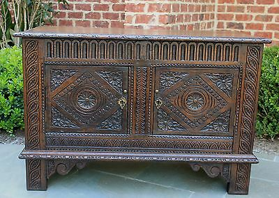 Antique English Renaissance Revival CARVED Oak Chest Cabinet Blanket Box Coffer