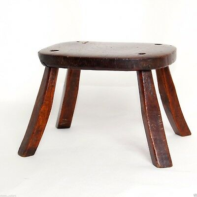 Antique Elm Child's Milking Fireside Stool Candlestick Stand c.1750 6in H