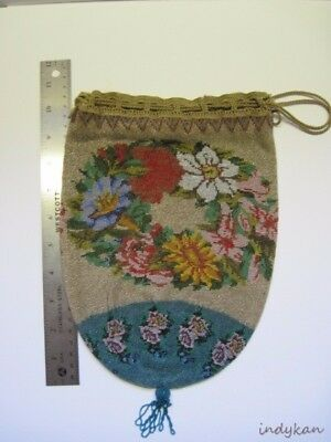Antique Beaded Purse Edwardian Victorian Microbeads Large Size Floral VTG NICE!