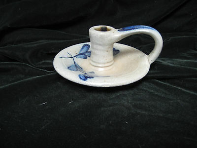 Rowe Pottery Works Cambridge, Wi -Candle Holder- 1987 Grey And Blue Heart