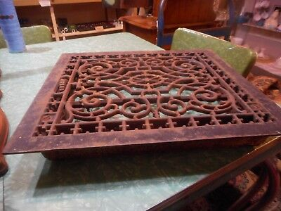 Vintage Cast Iron Victorian Furnace Grate Large 18 1/4 By 16 1/4 Inches Heavy