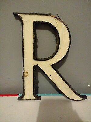 "Vintage brass shop letter or advertising initial R . 9"" in height  . Not enamel"