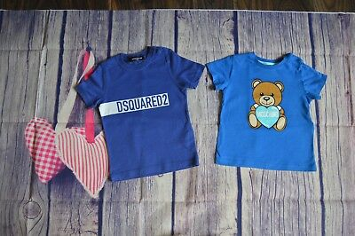 DSQUARED2 Moschino Baby Boy/Girl Designer Summer Clothes Bundle 2 T-shirts 2 Yrs