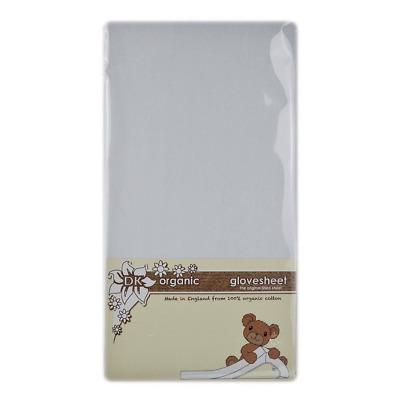DK Glovesheets Organic Cotton Fitted Cot Sheet, White, 83cm x 50cm