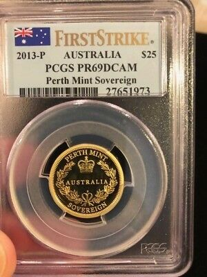2013-P $25 Australia 'perth Mint Sovereign' Gold Coin Pcgs Pr69Dcam First Strike