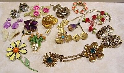 Vintage Jewelry Mixed Lot Garden of Flowers Pins Earrings