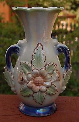 Vintage 1900's Pearl Iridescent Vase Marked Made In Brazil  8 1/2""